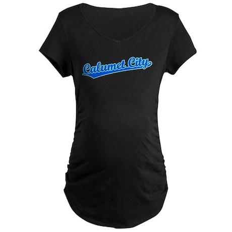 Retro Calumet City (Blue) Maternity Dark T-Shirt