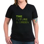 The Future is Green Women's V-Neck Dark T-Shirt