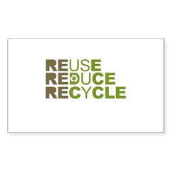 Reuse Reduce Recycle Rectangle Sticker 50 pk)