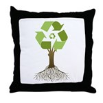 Recycling Tree Throw Pillow