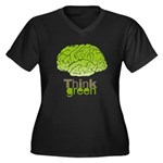Think Green Women's Plus Size V-Neck Dark T-Shirt