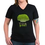 Think Green Women's V-Neck Dark T-Shirt