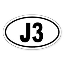 J3 Oval Decal