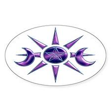 Purple & Blue Pentacle Oval Sticker (10 pk)