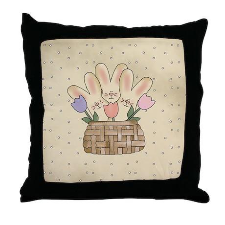 Country Bunnies Throw Pillow