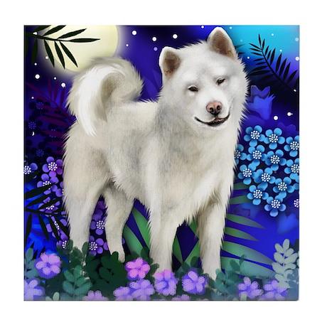 AKITA DOG MOON GARDEN Tile Coaster