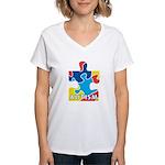 Autism Puzzle Piece 3 Women's V-Neck T-Shirt
