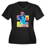 Autism Puzzle Piece 3 Women's Plus Size V-Neck Dar