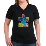 Autism Puzzle Piece 3 Women's V-Neck Dark T-Shirt