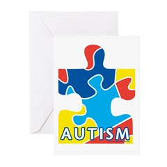 Autism Puzzle Piece 3 Greeting Cards (Pk of 20)