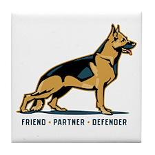 German Shepherd Friend Tile Coaster