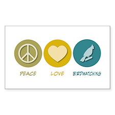 Peace Love Birdwatching Rectangle Sticker 10 pk)