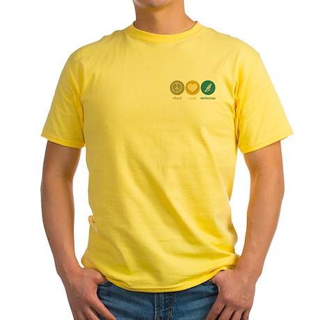 Peace Love Birdwatching Yellow T-Shirt