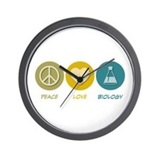 Peace Love Biology Wall Clock