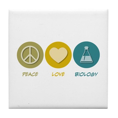 Peace Love Biology Tile Coaster