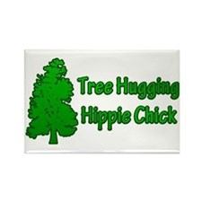 Tree Hugging Hippie Chick Rectangle Magnet
