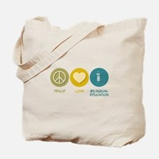 Peace Love Bilingual Education Tote Bag