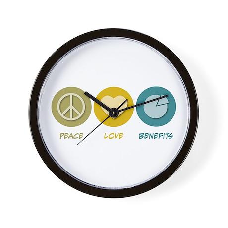 Peace Love Benefits Wall Clock