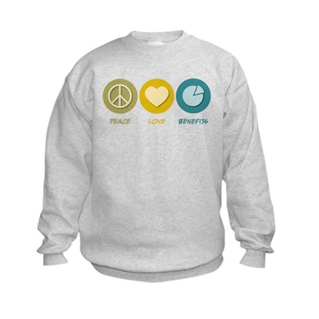 Peace Love Benefits Kids Sweatshirt