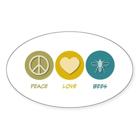 Peace Love Bees Oval Sticker