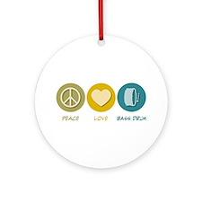 Peace Love Bass Drum Ornament (Round)