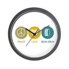 Peace Love Bass Drum Wall Clock