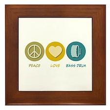 Peace Love Bass Drum Framed Tile