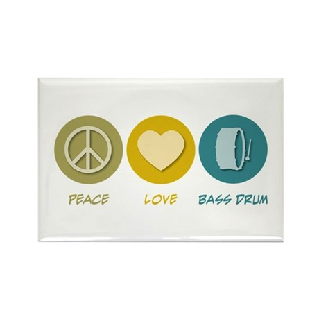 Peace Love Bass Drum Rectangle Magnet (10 pack)