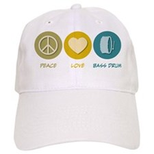 Peace Love Bass Drum Baseball Baseball Cap