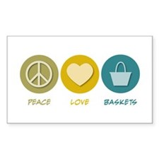 Peace Love Baskets Rectangle Decal
