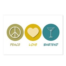 Peace Love Bartend Postcards (Package of 8)