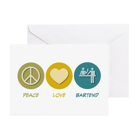 Peace Love Bartend Greeting Cards (Pk of 20)