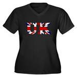 UK Lettering Women's Plus Size V-Neck Dark T-Shirt