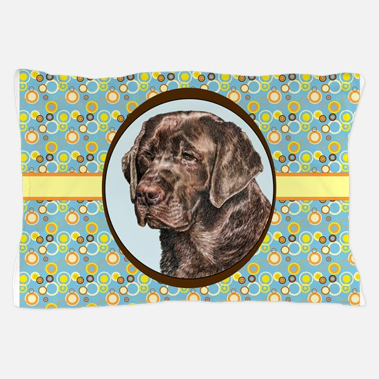 Chocolate Labrador Retriever Retro Pillow Case
