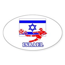 Israel Soccer Player Oval Sticker (10 pk)