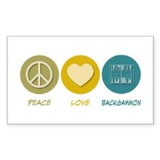 Peace Love Backgammon Rectangle Decal