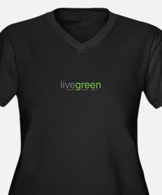live green Women's Plus Size V-Neck Dark T-Shirt