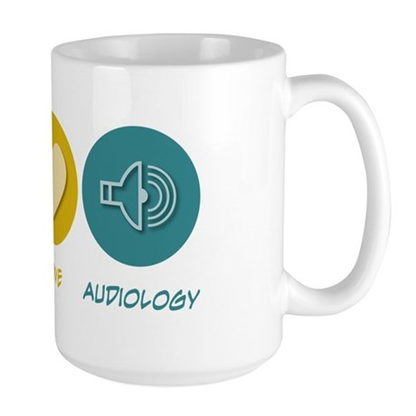 Peace Love Audiology Large Mug