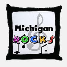 Michigan Rocks Throw Pillow