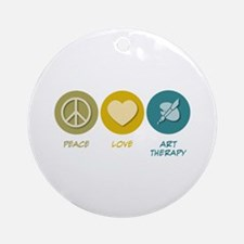 Peace Love Art Therapy Ornament (Round)