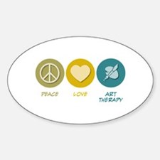 Peace Love Art Therapy Oval Decal