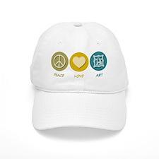 Peace Love Art Baseball Cap