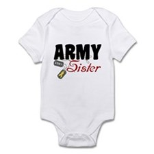 Army Sister Dog Tags Infant Bodysuit