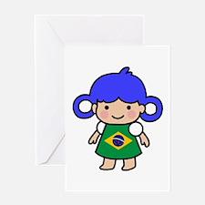 Brazil Flag Girl Greeting Card