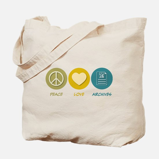 Peace Love Archives Tote Bag
