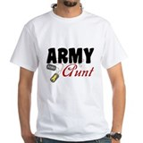 Army aunt Mens White T-shirts