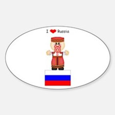 I Love Russia Oval Decal