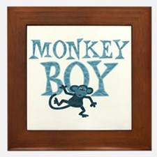 Blue Monkey Boy Framed Tile