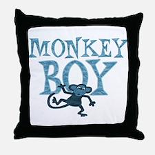 Blue Monkey Boy Throw Pillow