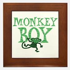 Green Monkey Boy Framed Tile